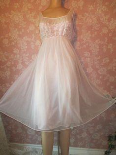 Vintage Nightgown Pink Chiffon Vanity Fair 60s Large by WeeBitUsed, $64.00