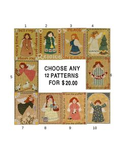Choose Any Twelve Homespun Collectibles Counted by straphaelwomen, $20.00