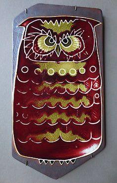 RARE Arabia Finland Owl Wall Plaque Signed Annikki Hovisaari Mid-Century Tile