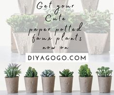 """Get you Cute paper potted tted faux plants now on DIYAGOGO.COM"" Vintage Home Decor, Vintage Furniture, Paper Pot, Solana Beach, Faux Plants, Faux Flowers, Diy Painting, Vintage Designs, You Got This"