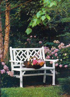 Chippendale Bench By the Hydrangeas Outdoor Retreat, Outdoor Decor, Garden Seating, Garden Benches, Chelsea Flower, Garden Inspiration, Garden Ideas, Garden Ornaments, Garden Accessories
