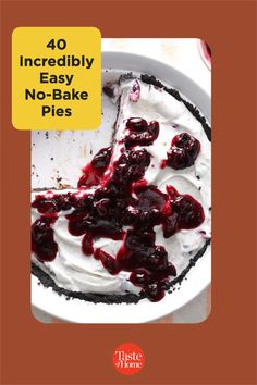 Wow everyone at your table with these no-fuss, no-bake pie recipes—no oven required! From creamy chocolate to lemony layers, the perfect ending to any fabulous meal is right here. Pie Recipes, Dessert Recipes, No Bake Pies, No Bake Desserts, Tart, Cheesecake, Oven, Layers, Meals
