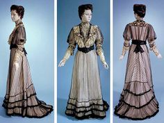 Two-piece dress, 1901. Pink silk covered w/black net. Front bodice has inset net yoke w/embroidery & sequins. High stand lace collar trimmed w/sequins, embroidery, & chiffon. Lapels of black satin embroidered w/flowers & trimmed w/steel beads & lace; black silk belt sewn to bodice for cummerbund effect. Skirt has inner gauged panel at back for fullness; trained; lower portion trimmed w/black velvet; silk dust ruffle w/more layers of pink chiffon at hem. Smithsonian Museum of American History