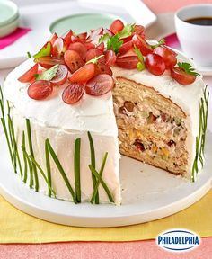 Create a party hit with this savory Sandwich 'Cake' Recipe. Layer bread, chicken salad and cream cheese for tasty sandwich slices. Decorate this Sandwich 'Cake' Recipe in a spring theme with chopped grapes on top and chives on the sides. Kraft Foods, Kraft Recipes, Cake Recipes, Delicious Sandwiches, Wrap Sandwiches, Party Sandwiches, Apple Streusel, Sandwich Cake, Sandwich Buffet