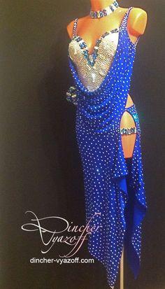 blue and white long drape latin dress Belly Dancer Costumes, Dance Costumes Lyrical, Ballroom Costumes, Latin Ballroom Dresses, Latin Dresses, Ballroom Dancing, Salsa Dress, Dance Fashion, Costume Dress