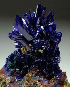 Azurite   #Geology #GeologyPage #Mineral  Locality: El Cobra Mine, Mexico  Photo Copyright © trinityminerals  Geology Page www.geologypage.com