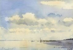 Edward Seago (1910 - 1974, UK) Low tide. Suffolk's Estuary Coast. watercolour on paper. 10Х14 in. (25.4 Х 35.56 cm.)