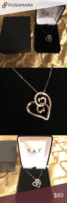 Open Hearts Necklace Open Hearts by Jane Seymour from Kay Jewelers. Two tone sterling silver and rose gold with diamonds.BRAND NEW in box, NEVER WORN! Kay Jewelers Jewelry Necklaces