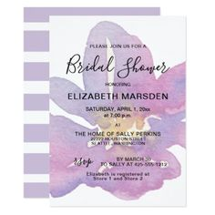 Watercolor Violet Lavender Floral Bridal Shower Card - calligraphy gifts custom personalize diy create your own