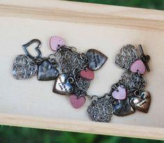 Oxidized Silver Plated Chain Bracelet Heart Love Charm Wood Metal Wire Wrap #Jeanninehandmade #Chain