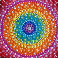 Rainbow Mandala Dot Painting. Dot Art. Dotillism. Hand painted chakra inspired Mandala painting.