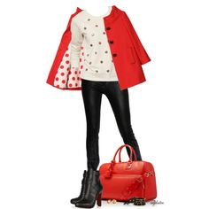 Red Coat and Polka Dots