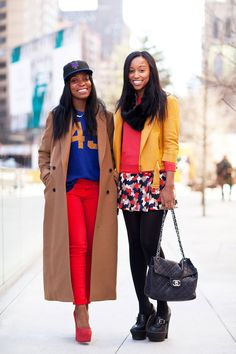 Go bold with a head-to-toe primary colored ensemble, like these two ladies spotted at the NYFW Fall shows.