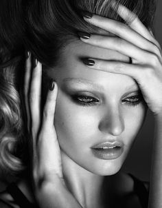 Candice stuns in this closeup image shot in black and white