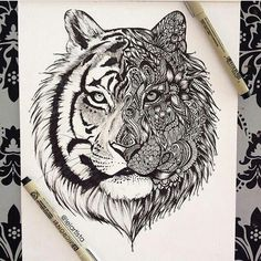 Tiger is one of my totem animals, I'd like one to be represented somehow... without being too cliche about it! I like the Light and dark contrast: