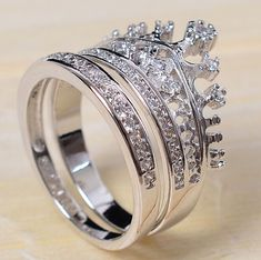 princess crown band ring sets 18k white gold GP Austrian Crystal AAA CZ zircon | Jewelry & Watches, Fashion Jewelry, Rings | eBay!