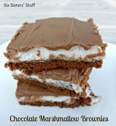 Mom's Famous Chocolate Marshmallow Brownies 10x15 with mini marshmallows & chocolate topping (or for speedy use canned frosting.