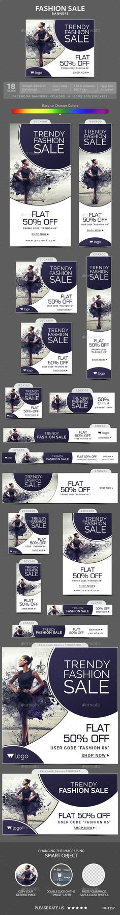 Buy Fashion Sale Banners by Hyov on GraphicRiver. Promote your Products and services with this great looking Banner Set. Layout Design, Graphisches Design, Web Banner Design, Email Design, Web Banners, Social Media Banner, Social Media Design, Cv Web, Fashion Banner