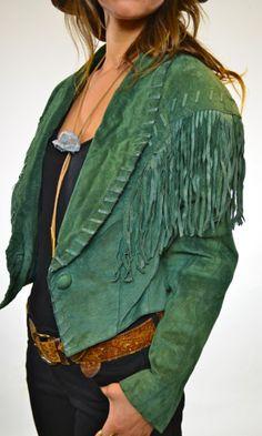 1980s Dusty Olive Green Suede Fringe Jacket  80s Liz Wear Leather Jacket with Fringe Trim
