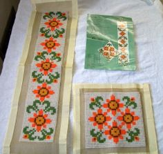 FINISHED Vintage Wool Needlepoint - Bell Pull and Pincushion - Orange and Green