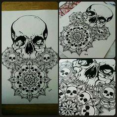 Skull mandala print