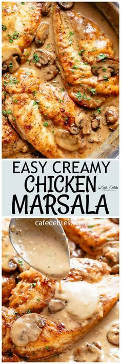 Chicken Marsala in a thick and creamy mushroom sauce rivals any restaurant! One of the most sought after dishes served in restaurants is super fast and easy to make in your very own kitchen! A flavourful chicken dinner with plenty of sauce to serve over your sides and an authentic Italian taste! | cafedelites.com