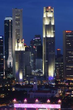 Central Business District, City Skyline at Night, Singapore