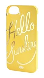 Rifle Paper Co. This case is yellow with gold foil and suited to 5 and iphones. This case is the slim model. Hello Sunshine Tech by Rifle Paper Co.