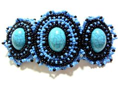 Turquoise Barrette Beaded Hair Clip Blue and Black Cabochons