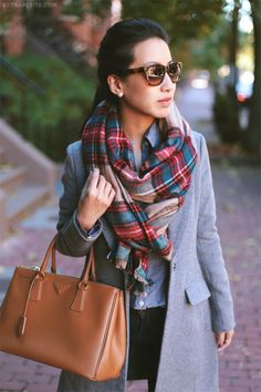 Fall / Winter - street chic style - casual style - business casual - work outfit - office wear - plaid scarf + brown tote + chambray shirt + black skinnies + light grey coat + brown booties + leopard print sunglasses