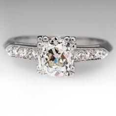 1.3 Carat Old Mine Cut Heirloom Diamond Wedding Ring