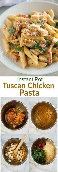 You are here:Home/Main Dish/Instant Pot Tuscan Chicken PastaINSTANT POT TUSCAN CHICKEN PASTAJump to RecipePrint RecipePinShareTweet+1EmailI've had so much fun recipe testing instant pot recipes, and I'm sooooooo excited to share thisInstant Pot Tuscan Chicken Pastawith you all today. A delicious pasta dish with creamy garlic sauce, sun-dried tomatoes, spinach, and chicken. My family quickly fell in love with this yummy, EASY pressure cooker m