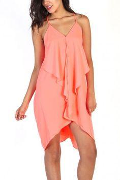 Neon Orange  Waterfall Dress