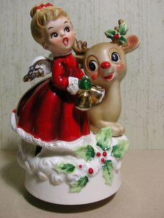 Vintage Josef Originals Christmas Angel with Rudolph Music Box Figurine