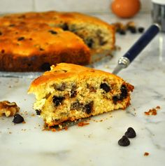Soft, fluffy, chocolaty, and nutty. So good that it's hard to believe it doesn't have butter.  And it will only take 45 minutes of your time.  Cooking with Manuela: Butter-free Yogurt Cake with Chocolate Chips and Walnuts