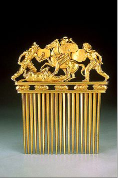 Scythian Gold Comb Depicting Scythians in Battle, a Quintessential Masterpiece of Ancient Metalworking Russia , now Ukraine