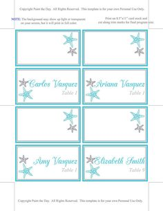 Free printable beach place cards can also be used as for Make your own wedding place cards