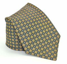 Massimo Bizzocchi Silk Tie Yellow Teal Green Brown Blue Geometric Italy Long