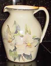 HOME U0026 Garden PARTY Handmade Magnolia Stoneware Pitcher 1999