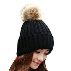 Elaco Womens Girls Knitted Fur Hat Real Cool Fur Pom Pom Beanie Hats