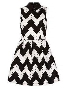 Zig Zag Print Collar Skater Dress