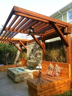 Pergola Designs Ideas And Plans For Small Backyard & Patio - You've likely knew of a trellis or gazebo, but the one concept that defeat simple definition is the pergola. Backyard Privacy, Outdoor Pergola, Diy Pergola, Pergola Ideas, Wooden Pergola, Outdoor Shade, Pergola Lighting, Small Pergola, White Pergola