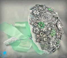 Mint Green Crystal Brooch Bouquet  by Blue Petyl  by BluePetyl, $399.00