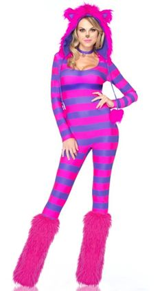 Funny sexy Hallowee Funny sexy Halloween costumes like this Chesire Cat from Alice in Wonderland costume! Cheshire Cat Halloween Costume, Toddler Halloween Costumes, Adult Halloween, Women Halloween, Halloween Makeup, Halloween Tricks, Halloween 2014, Kitten Costumes, Girl Costumes