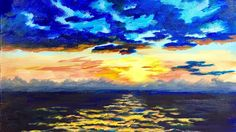 How to Paint a Cloudy Sunset at Sea with Ginger Cook a Beginner Acrylic ...