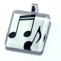 Glass  Pendant Musical Notes Black & White by CynthiaCoolBeans, $15.95