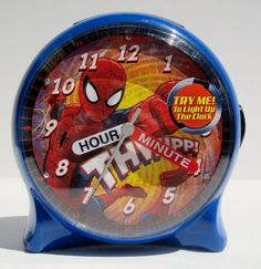 Marvel Ultimate Spider-Man Time Teacher Desk Clock. Great back to school clock for Spider-man fans of all ages. Also terrific to help little ones learn to tell time. Will help all get into that wake-up routine with some fun.