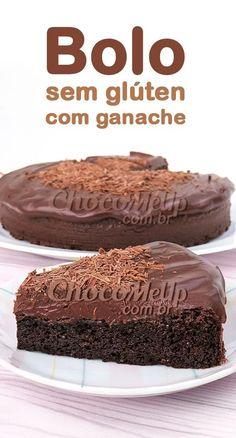 Esse bolo de chocolate sem glúten é uma delícia e super macio, coberto por um ganache de chocolate meio amargo que traz uma cremosidade perfeita para essa sobremesa fácil de fazer. Vale a pena experimentar! #bolo #receita #doce #sobremesa #bolos #semgluten #receitafacil Sin Gluten, Gluten Free, Brownie Sem Gluten, Celiac Disease, Flan, Banana, Homemade, Cooking, Healthy