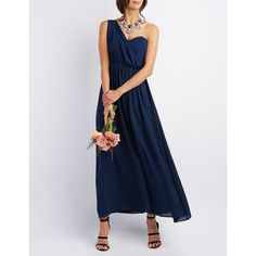 Charlotte Russe Draped One-Shoulder Maxi Dress ($60) ❤ liked on Polyvore featuring dresses, navy, navy blue cocktail dress, navy blue bridesmaid dresses, chiffon maxi skirt, long navy blue skirt and blue bridesmaid dresses