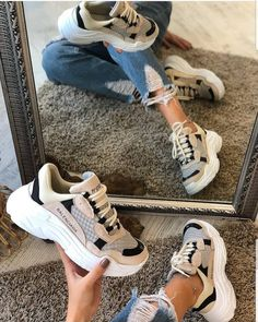 Tried this Pin? Latest Sneakers, Sneakers Fashion, Fashion Shoes, Pretty Shoes, Cute Shoes, Sports Shoes For Girls, Sneaker Outfits Women, White Nike Shoes, Dad Shoes